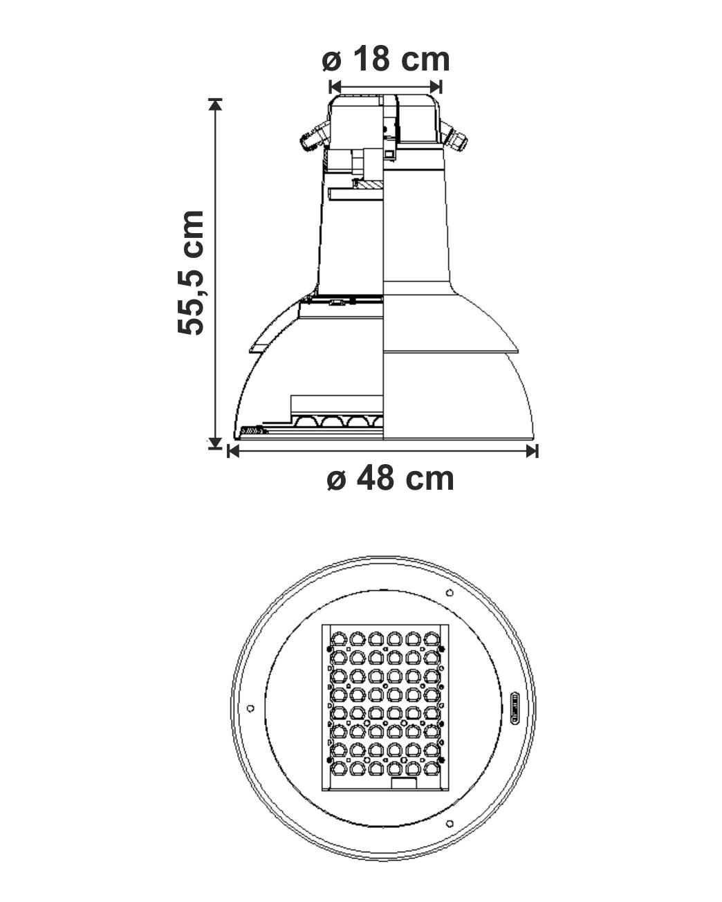 Campana LED dimensiuni