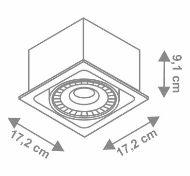 Ufo Square corp de iluminat incastrabil dimensiuni