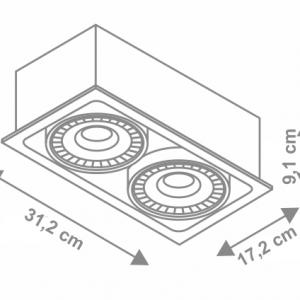 Ufo Square corp de iluminat incastrabil dimensiuni v2