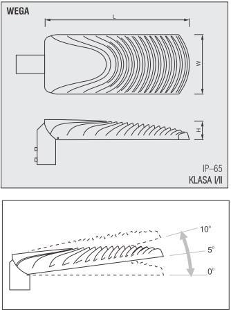dimensiuni Wega corp de iluminat pe stalp