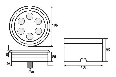 Spot incastrabil LEDIN 601 dimensiuni