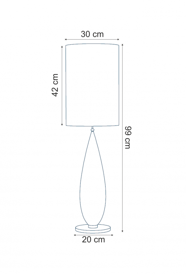Lampa de masa Indil T dimensiuni